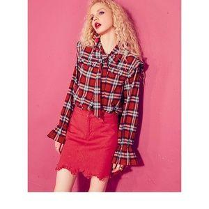 GEDRI Red Flannel Plaid  Button Down Shirt